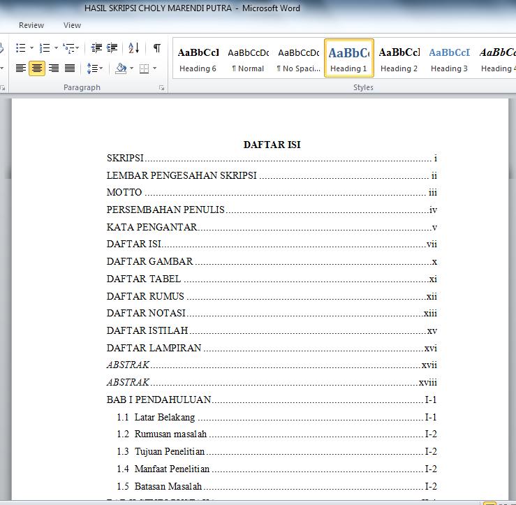 Cara Membuat Daftar Isi Otomatis Pada Microsoft Word 1001 Tutorial